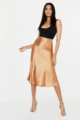 boohoo Leopard Print Satin Bias Cut Slip Midi Skirt