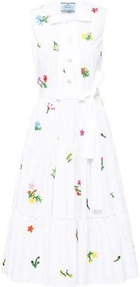 Prada Embroidered Floral Tea Dress
