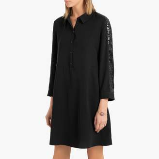 Vero Moda Embroidered Shirt Dress with Long Sleeves