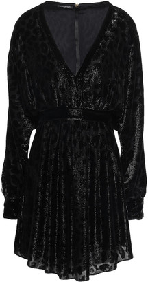 Balmain Gathered Metallic Devore-velvet Mini Dress