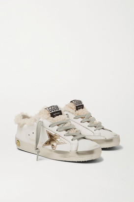 Golden Goose Kids - Sizes 28 - 35 Superstar Shearling-lined Distressed Leather Sneakers