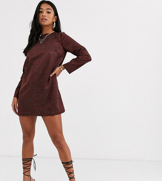 ASOS DESIGN Petite mini shift dress in stud embellishment