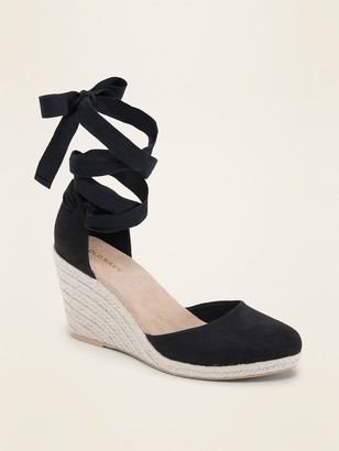 Old Navy Faux-Suede Strappy Lace-Up Espadrille Wedge Shoes for Women