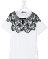 DSQUARED2 lace detail T-shirt - kids - Cotton - 14 yrs