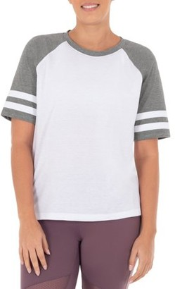 Athletic Works Women's Athleisure Varsity Stripe Baseball T-Shirt