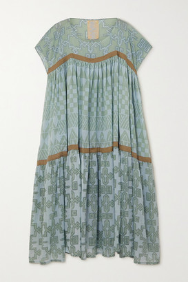 Yvonne S Wind Tiered Pleated Printed Cotton-voile Midi Dress - Green