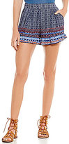 Living Doll Border-Print High Rise Ruffle Soft Shorts
