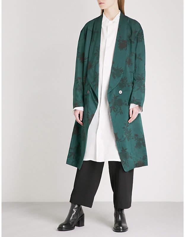 Y's Ys Floral-pattern cotton-blend coat