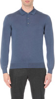 Corneliani Fine-knit cashmere and silk polo shirt