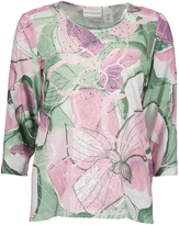 Alfred Dunner Pink & Green Floral Three-Quarter Sleeve Top - Petite