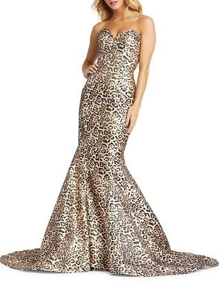 Mac Duggal Cheetah-Print Trumpet Gown