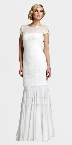 White Cap Sleeve Mermaid Gowns from The White Collection by Mignon