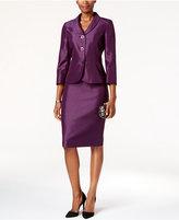 Le Suit Shiny Three-Button Skirt Suit
