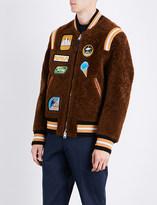 Coach Badge-detailed shearling varsity jacket