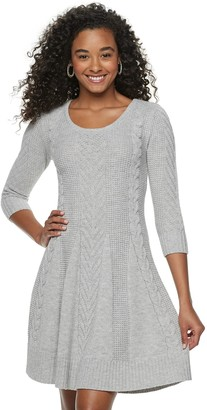 Candies Juniors' Candie's 3/4 Sleeve Cable Sweater Dress
