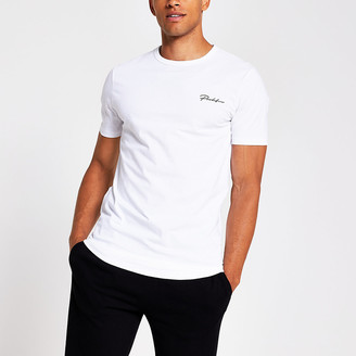 River Island Prolific white curved hem regular fit T-shirt