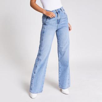 River Island Mid blue slim wide leg jeans