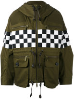 DSQUARED2 checkboard mini parka jacket - women - Cotton - 38