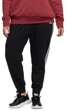adidas Plus Size 3-Stripes Fleece Jogger Pants