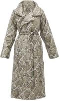 Norma Kamali Sleeping Bag Snakeskin-print Padded Shell Coat - Womens - Grey Print