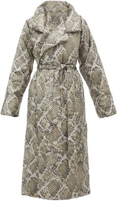 Norma Kamali Sleeping Bag Snakeskin-print Padded Shell Coat - Grey Print