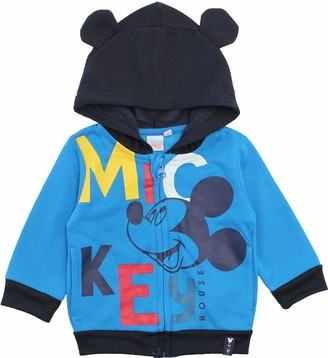 Disney Mickey Mouse Baby-Boys Happy Face Hoodie Jumper Blue 18 Months