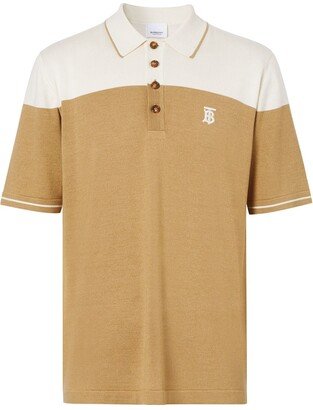 Burberry Embroidered Monogram Two-Tone Polo Shirt