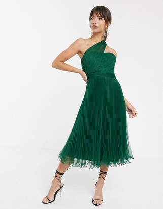 ASOS DESIGN one shoulder tulle wired hem midi dress