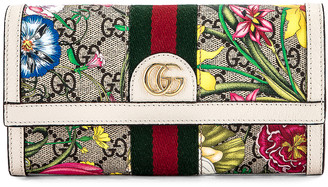 Gucci Floral Continental Wallet in Beige Ebony & White | FWRD