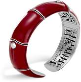 John Hardy Sterling Silver and Deep Red Enamel Bamboo Kick Cuff