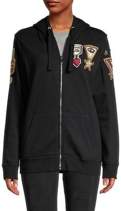 Valentino Badge Applique Full-Zip Hoodie