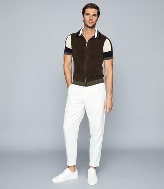 Reiss Capo - Towelling Zip Through Polo Shirt in Khaki