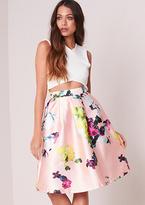 Missy Empire Poppie Pink Floral Skater Midi Skirt