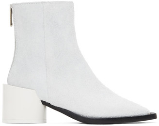 MM6 MAISON MARGIELA White Suede Square Toe Ankle Boots