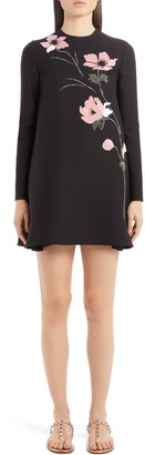 Valentino Beaded Floral Intarsia Long Sleeve Wool & Silk Minidress