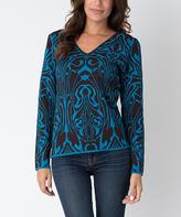 Yuka Paris Brown & Turquoise Abstract V-Neck Sweater