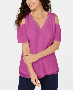 JM Collection Petite Embellished Cold-Shoulder Top, Created for Macy's
