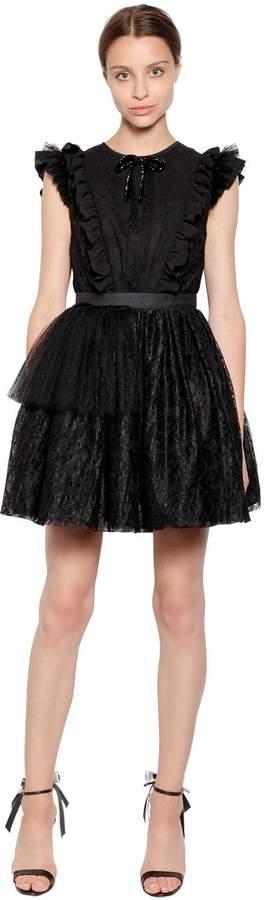 MSGM P.m. Tulle And Lace Mini Dress