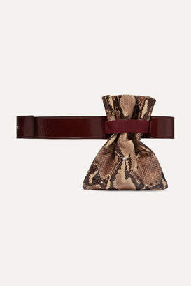 Tl 180 TL-180 - Fazzoletto Snake-effect And Glossed-leather Belt Bag - Snake print