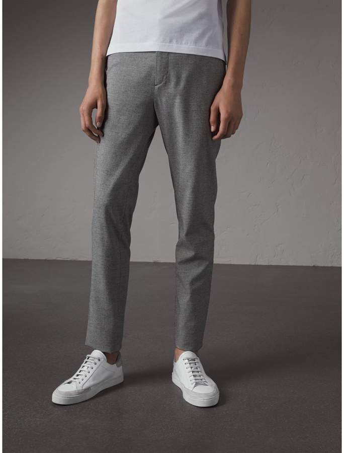 Burberry Micro Houndstooth Cotton Wool Blend Drawstring Trousers