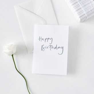 The White Company Happy Birthday Card, White, One Size