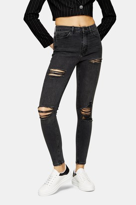 Topshop Womens Tall Washed Black Super Ripped Jamie Skinny Jeans - Washed Black