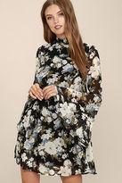 LuLu*s Inspire Me Black Floral Print Long Sleeve Dress