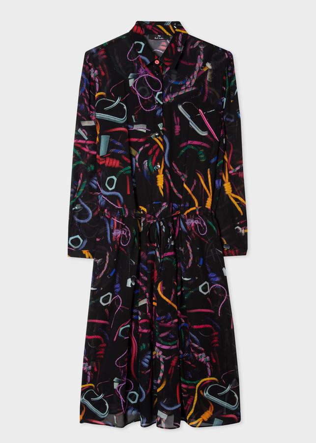 Paul Smith Women's Black 'Climbing Rope' Collared Shirt Dress