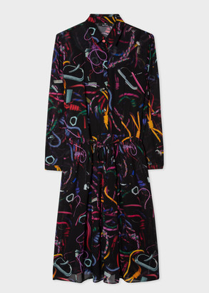 Paul Smith Women's Black 'Climbing Rope' Collared Shirt Dress