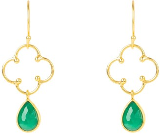 Latelita Open Clover Gemstone Drop Earring Gold Green Onyx