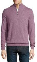 Neiman Marcus Cashmere Half-Zip Sweater, Rose Melange