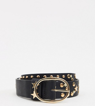 My Accessories Curve My Accessories London Curve Exclusive waist and hip jeans belt with star detail in gold