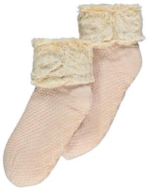 George Pink Knitted Fleece Lined Slipper Socks