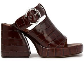 Chloé Wave Buckled Croc-effect Leather Platform Sandals